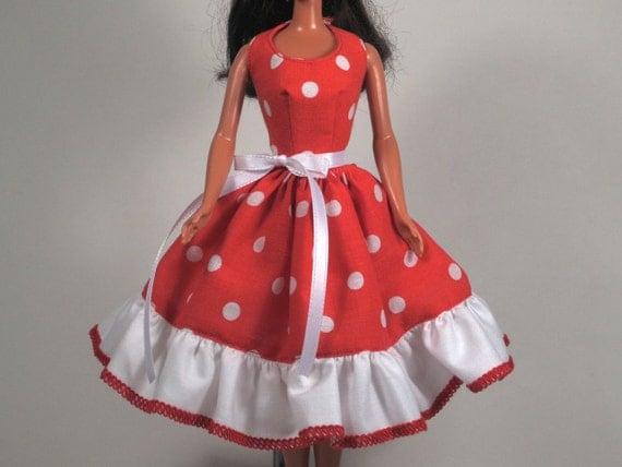 Pop Polka Dots - Barbie Doll Dress Handmade Barbie Doll Clothes