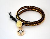 Black & Gold Hamsa Wrap Bracelet
