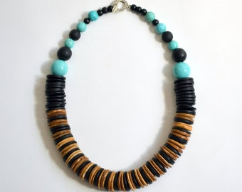 Wood Disc Turquoise Necklace
