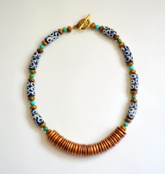 Gold Disc Ghana Glass Bead Tribal Necklace