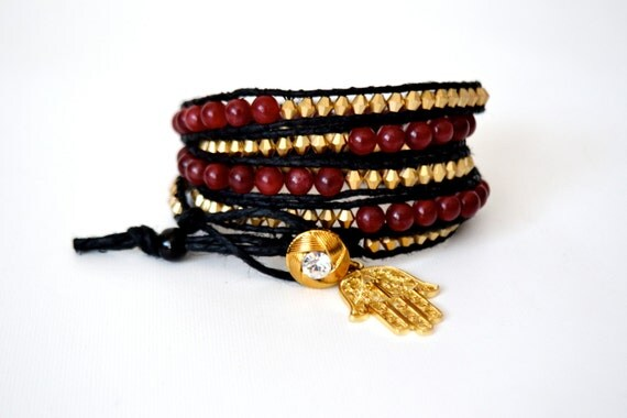 SALE - Wrap Bracelet with Hamsa Charm