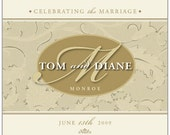 Wedding or Anniversary Wine Label 1 Set, Front AND Back labels - 'Monogram'