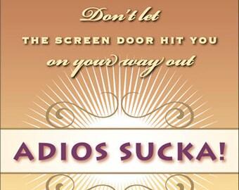 "Divorce Wine Label 1 Set, Front AND Back labels - ""Adios Sucka"""
