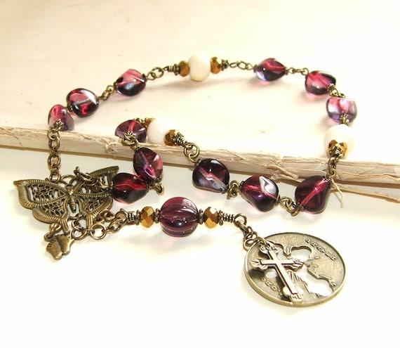 Recovery Prayer Beads // 12 Step Beads // Lord's Prayer Medal