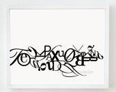16x20 ALPHABET print : Palette No. 01 black white