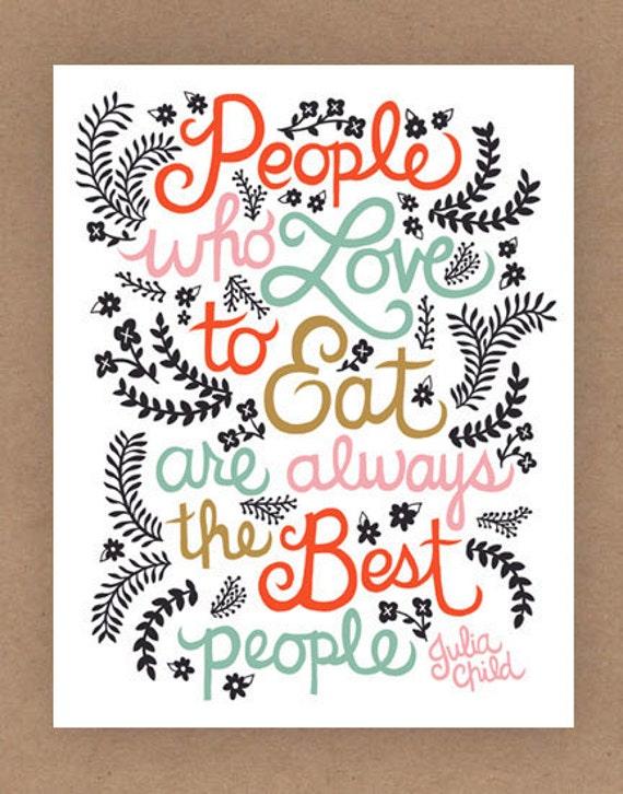 8x10-in Julia Child Quote Illustration.