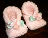 pink baby booties with rose - reservet for joann