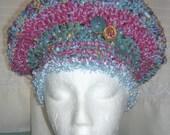 Fairytale Dk Aqua Dusty Rose Crocheted Beret Hat, M-XL