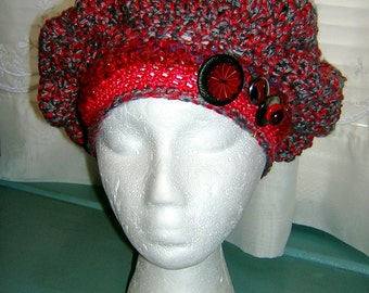 Funky Fun Unique Gray-Red with Purples Woman's or Girl's Beret Hat, S-M