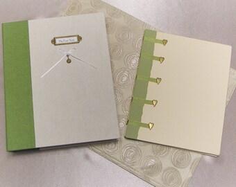 Hand-bound baby book and keepsake box set