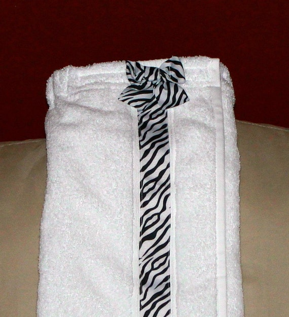 Towel Wrap Spa Wrapwhite Towel With Zebra By Carriedawaycreations