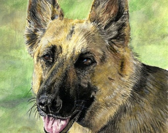 German Shepherd - Dog A4 A3 or A2 Sized Limited Edition Art Print of my original watercolor painting from RussellArt