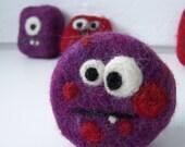 STOCKING STUFFER SALE Felted soap Monster purple
