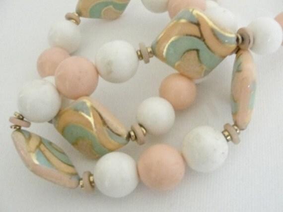 Art Deco Miami Beach Ceramic Beaded Pastel 80s Necklace