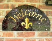Mosaic Welcome Sign Fleur De Leis