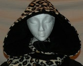 Hooded XL Scarf Scoodie Leopard Print & Black Reversible