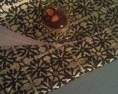 Clutch Purse/Mona Lisa Cameo Pendant Clutch Purse/Black and Silver Clutch Bag/ Cosmetics Bag / Makeup Bag/Fashion Envelope Clutch