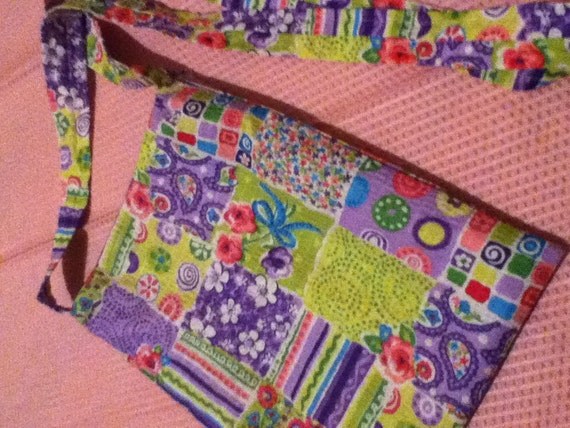 Purple and Green Patchwork Crossbody Bag // Sling Purse // Small Shoulder Bag // Girls Patchwork Purse // Gifts for Girls