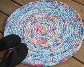 Crocheted Upcycled Tie Dye Rag Rug