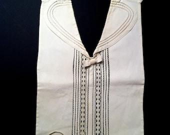 Vintage Edwardian Top, Vintage Women's Dickey, Vintage Cotton Blouse, Embroidered Top, 1900s Dickey, Tuxedo Style Blouse, White Cotton Top