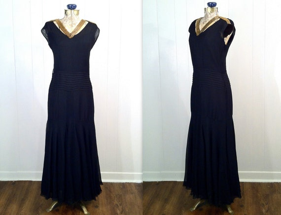 1930s Black Silk Crepe Gown Dress - Gold Beaded Collar - Art Deco - Bias Cut - Beautiful - Large Size
