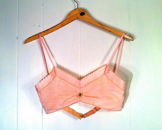 1920s Pink Silk Flapper Bra - Lingerie - Embroidered in Switzerland - Brassiere
