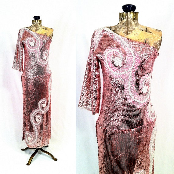 RESERVED Vintage 1970s Couture Silk and Sequined Pink Gown - White Scroll Pattern - One Shoulder Glam