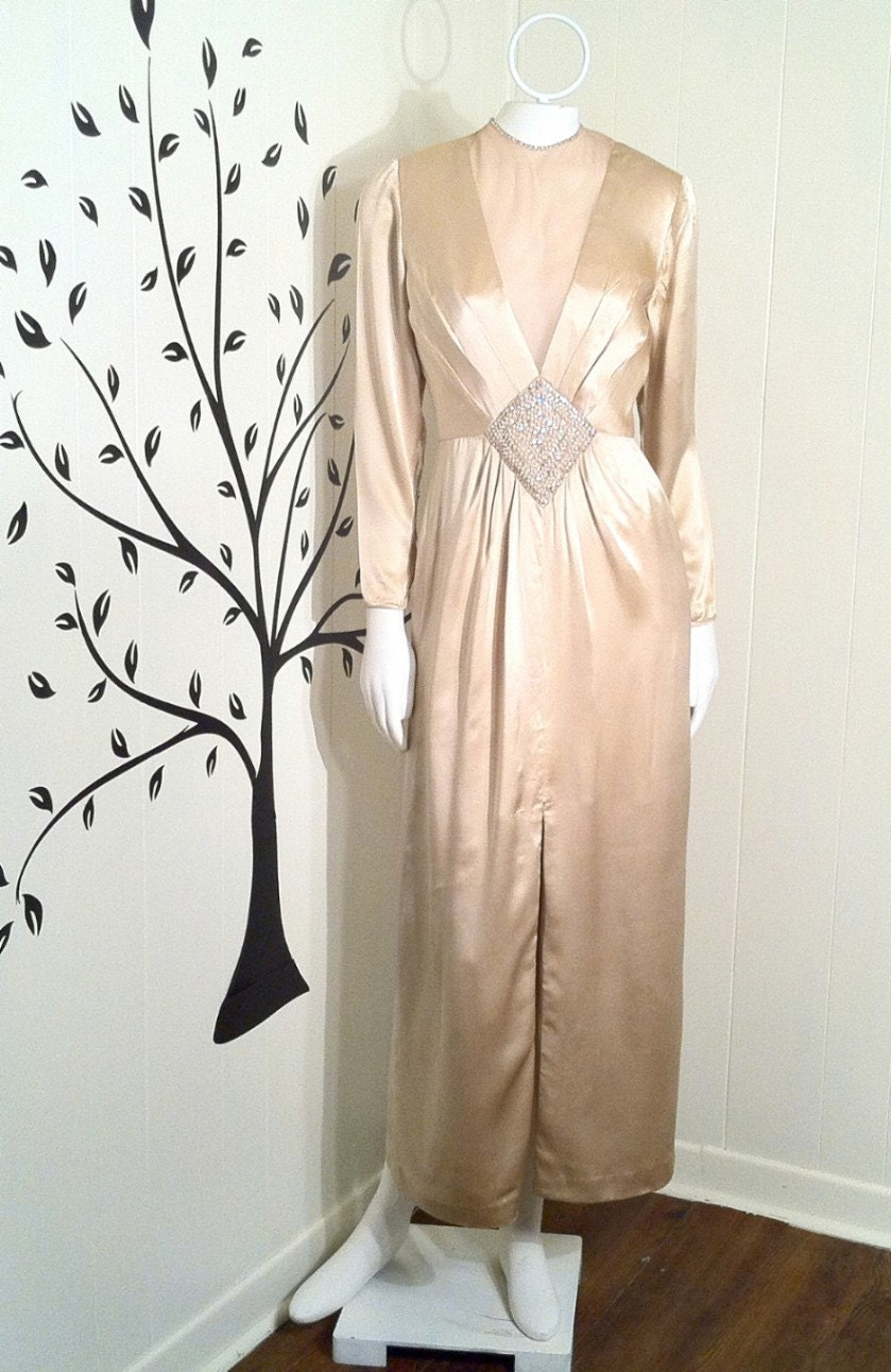 Vintage rose taft couture silk gown wedding dress for Vintage rose wedding dress