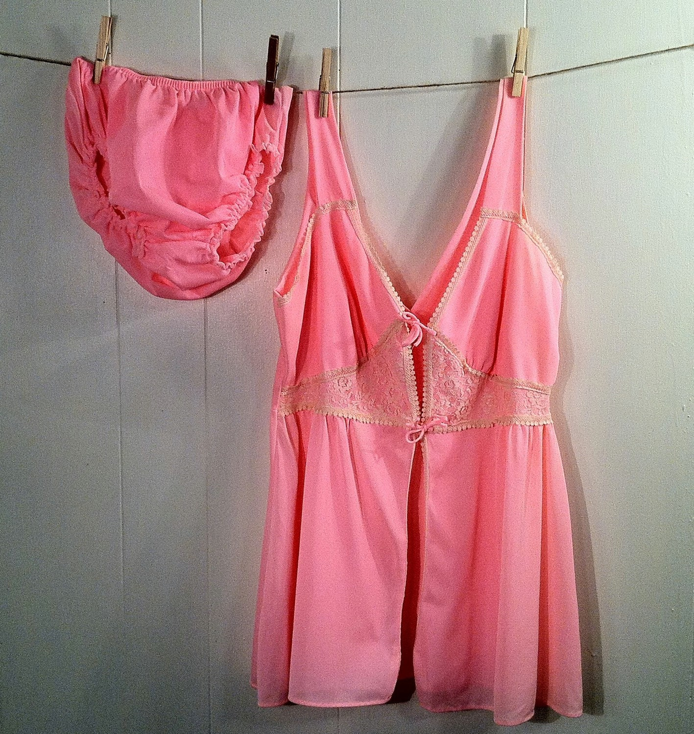 Vintage 1960s Pink Nylon Baby Doll Nightie Matching Bloomers