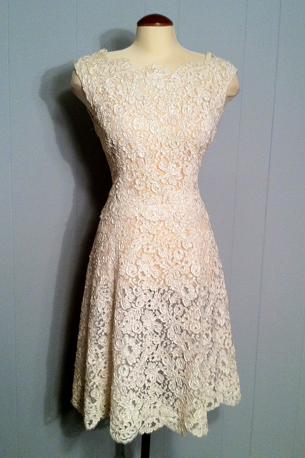 Reserved vintage romance off white lace dress wedding gown for Vintage lace dress wedding