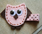 Pink and Brown Felt Owl Clippie