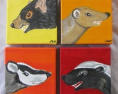 Honey Badger Tasmanian Devil Mongoose Paintings --The Angry Little Mammals Collection