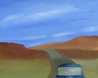Mini Cooper art Road Trip 8x10 original oil painting