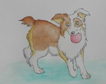 Australian shepherd art -Throw the Ball...Please original 9x12 Watercolor