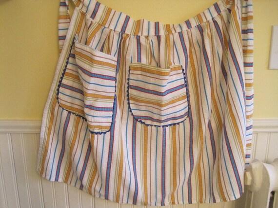 Vintage Apron  / Handmade /  Multicolored Stripe