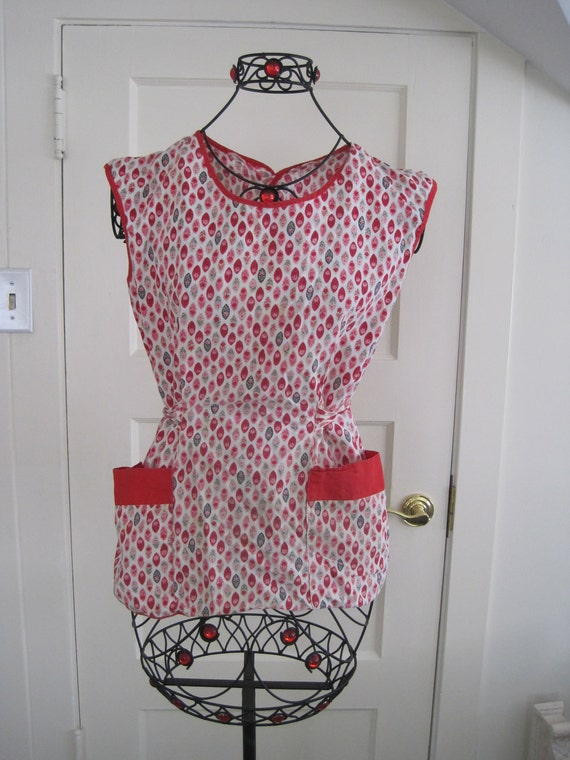 Vintage Apron Red and White  Topper 1950's