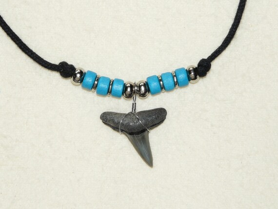 Lemon shark tooth necklace with turquoise beads and adjustable cord