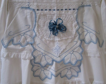 Fancy Blue and White Apron