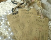 Large French Train Ticket Gift Hang Tags with Assorted French Country Tattered Ribbon Set of 3