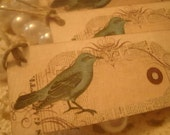 Turquoise Bird on French Newspaper Mini Hang Tag with Twine Set of 5