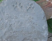 Cast stone memorial dog plaque or stone