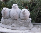 Concrete Three Sitting Birds