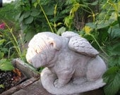 Concrete BULLDOG ANGEL statue or memorial
