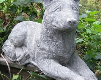 Concrete Large Laying German Shepherd Statue