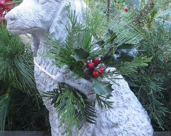 Concrete Large Poodle Dog Statue with Festive Evergreen Garland