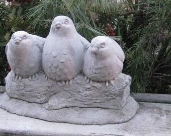 Concrete Three Sitting Birds