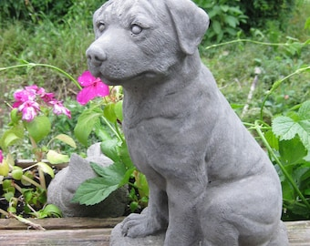Large Concrete Sitting ROTTWEILER Statue (Shipping is for West of the Mississippi River)