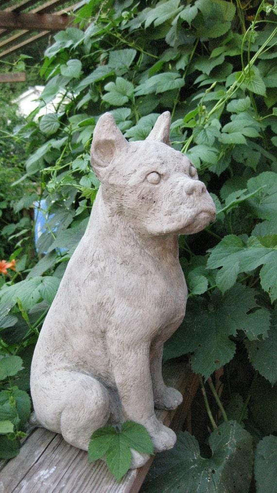 Concrete Large Boxer Dog Garden Statue Or By Springhillstudio