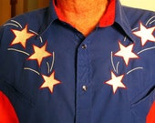 Red White and Blue Ely Diamond Western Shirt 4th of July Stars XL Country