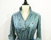 70s Teal  Secretary dress / 1970s Secretary Dress / 1970 dress  / Teal Dress / Miss Sugar